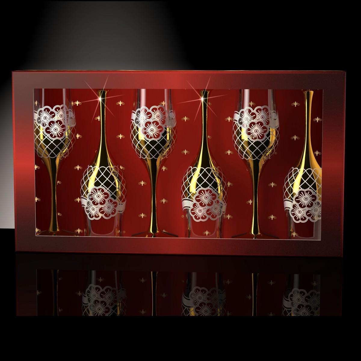 Набор из 6 бокалов «Золотая сетка цветы», 200 мл