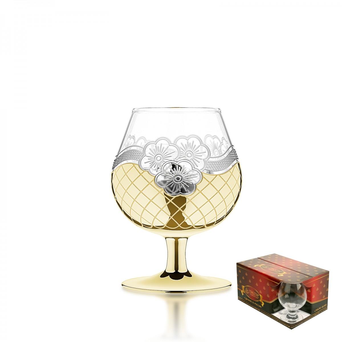 GN5_1740_3 Набор из 6 бокалов для бренди «Золотая сетка цветы», 250 мл