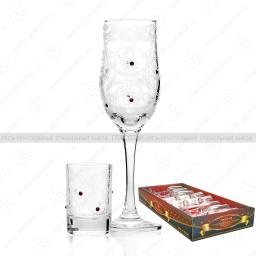 Набор 12 предметов «Стразы»  (6 бокалов + 6 стопок)
