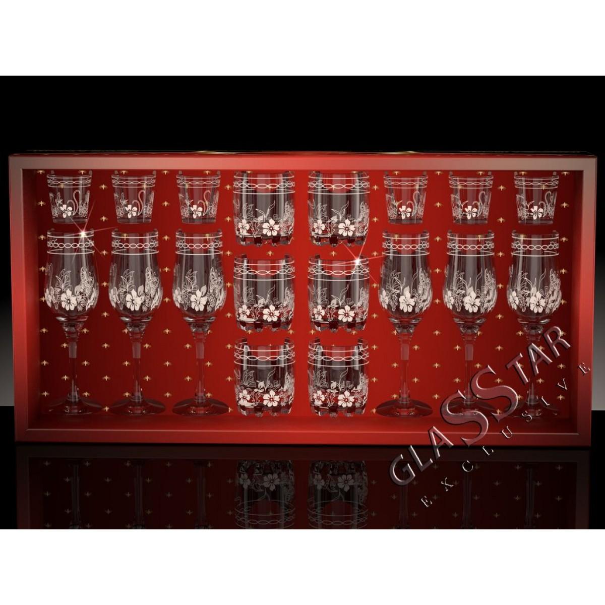 G8_160_414_50 Набор 18 предметов «Бабочки» (6 бокалов + 6 стаканов + 6 стопок)