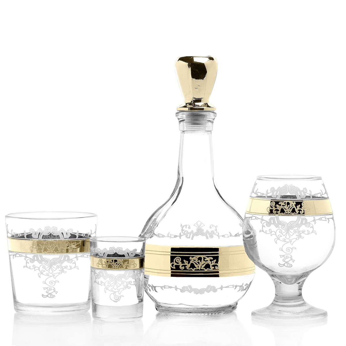 GN13_01_1740_414_22 Набор 19 предметов «Медальон» (1 графин + 6 бренди + 6 стаканов + 6 стопок)