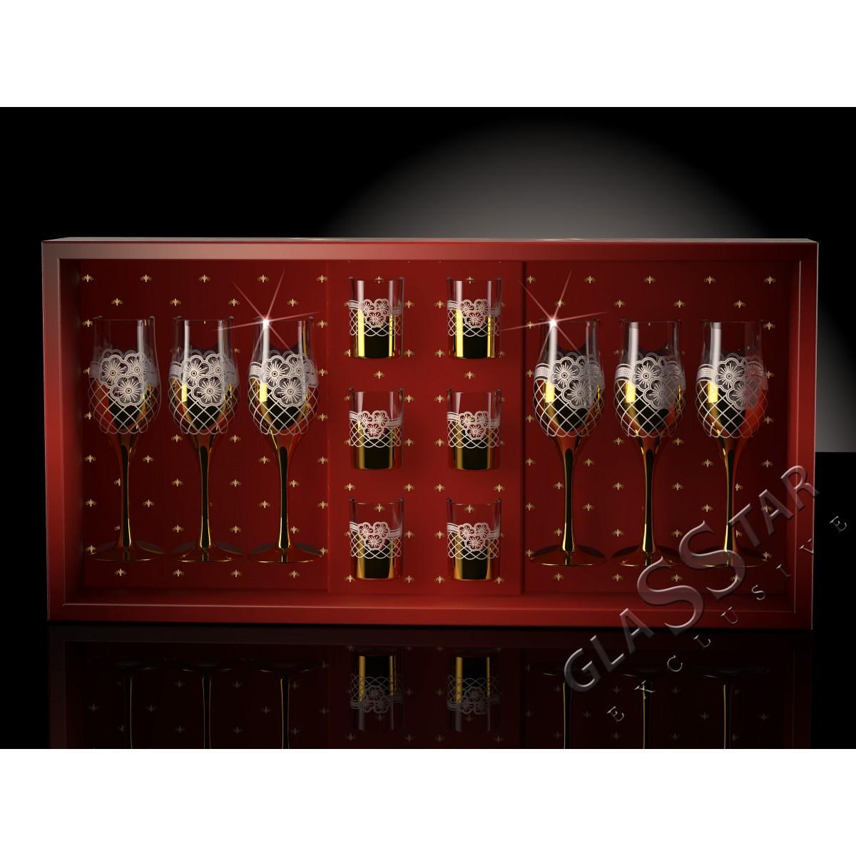 GN5_160_22 Набор 12 предметов «Золотая сетка цветы»  (6 бокалов + 6 стопок)
