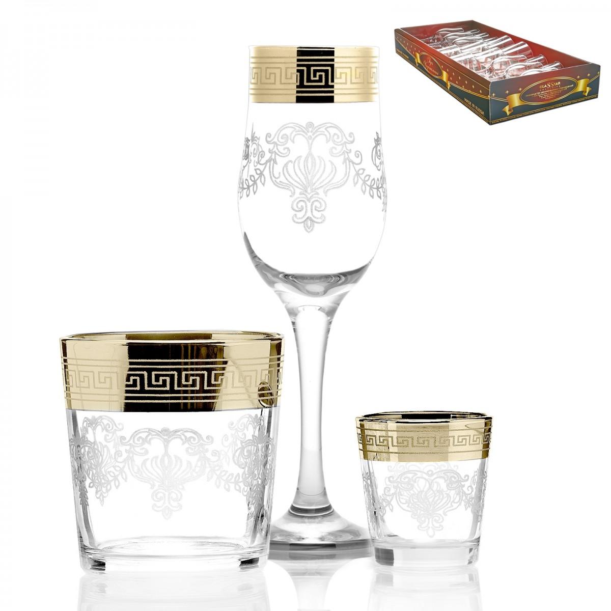 GN1_160_40_50 Набор 18 предметов «Барокко» (6 бокалов + 6 стаканов + 6 стопок)