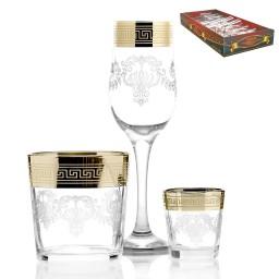 Набор 18 предметов «Барокко» (6 бокалов + 6 стаканов + 6 стопок)