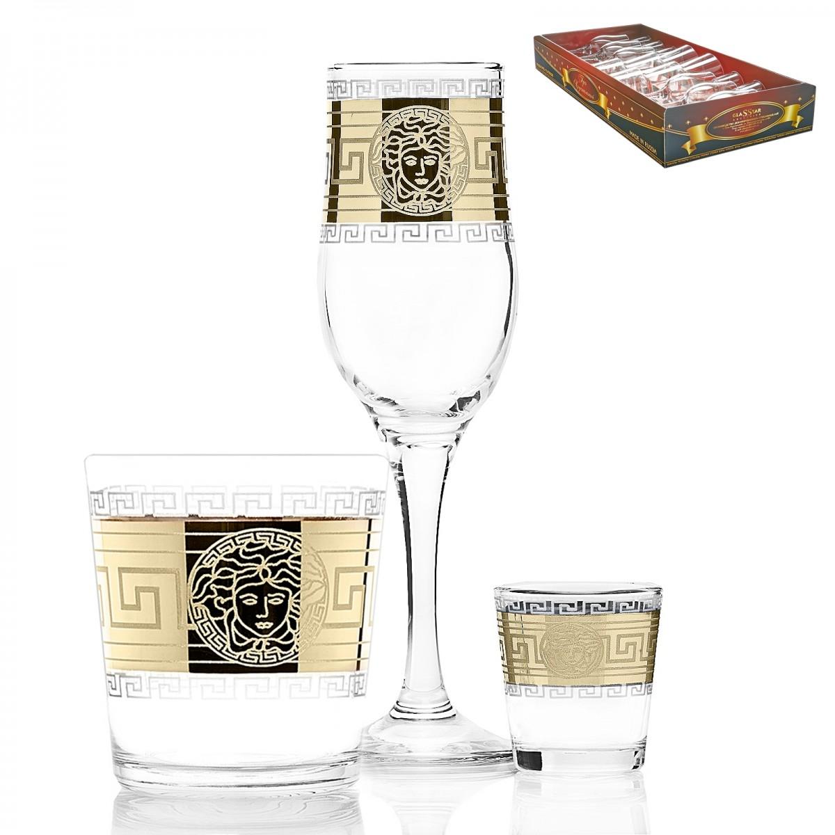 GN3_160_40_50 Набор 18 предметов «Версаль» (6 бокалов + 6 стаканов + 6 стопок)