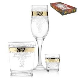 GN13_160_40_50 Набор 18 предметов «Медальон» (6 бокалов + 6 стаканов + 6 стопок)