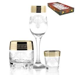 Набор 18 предметов «Барокко» (6 бокалов + 6 стаканов виски + 6 стопок)