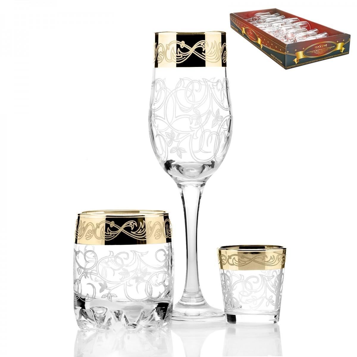 GN2_160_414_50 Набор 18 предметов «Вдохновение» (6 бокалов + 6 стаканов виски + 6 стопок)