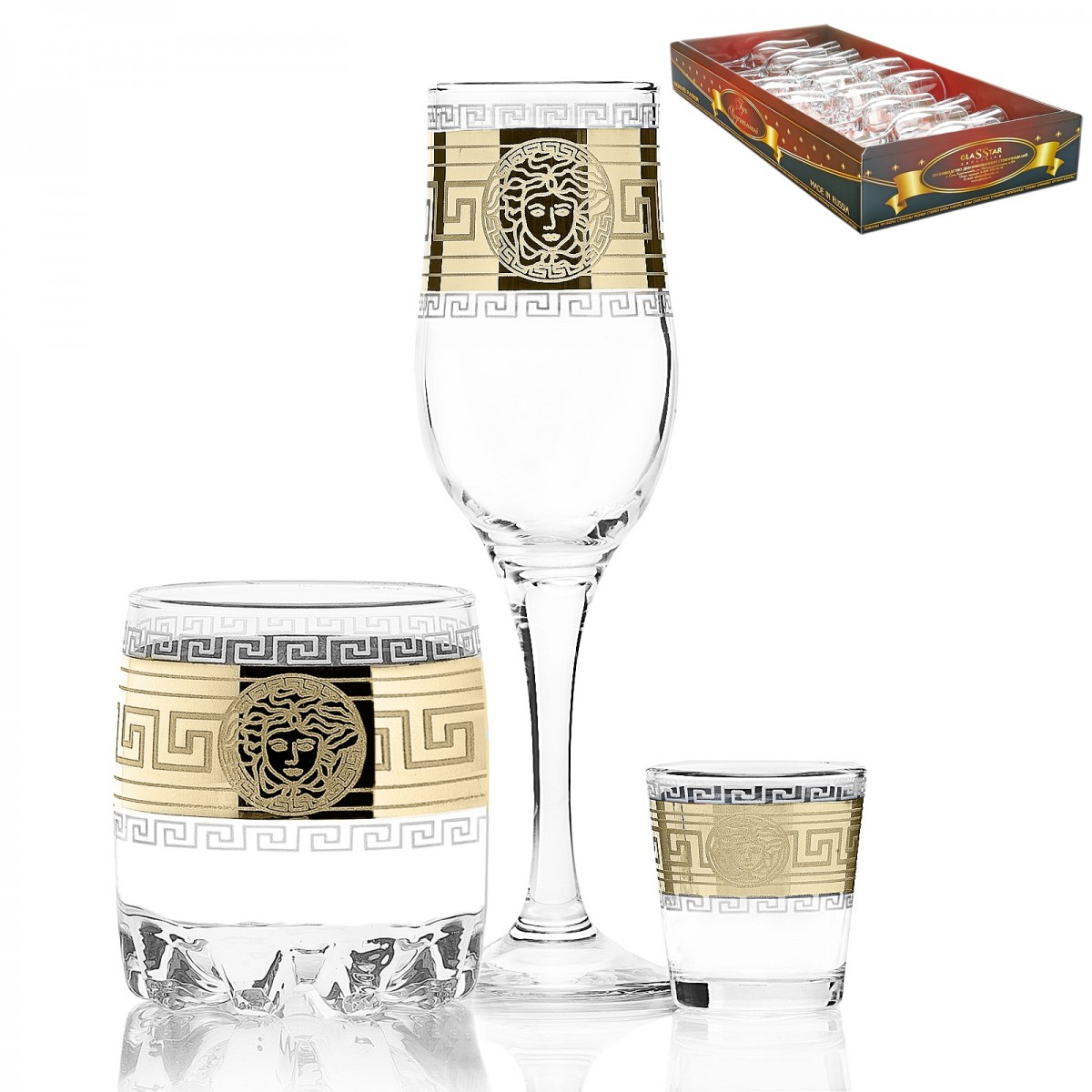 GN3_160_414_50 Набор 18 предметов «Версаль» (6 бокалов + 6 стаканов для виски + 6 стопок)