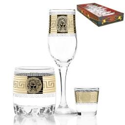 Набор 18 предметов «Версаль» (6 бокалов + 6 стаканов для виски + 6 стопок)