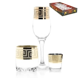 Набор 18 предметов  «Греция» (6 бокалов + 6 стаканов для виски + 6 стопок)