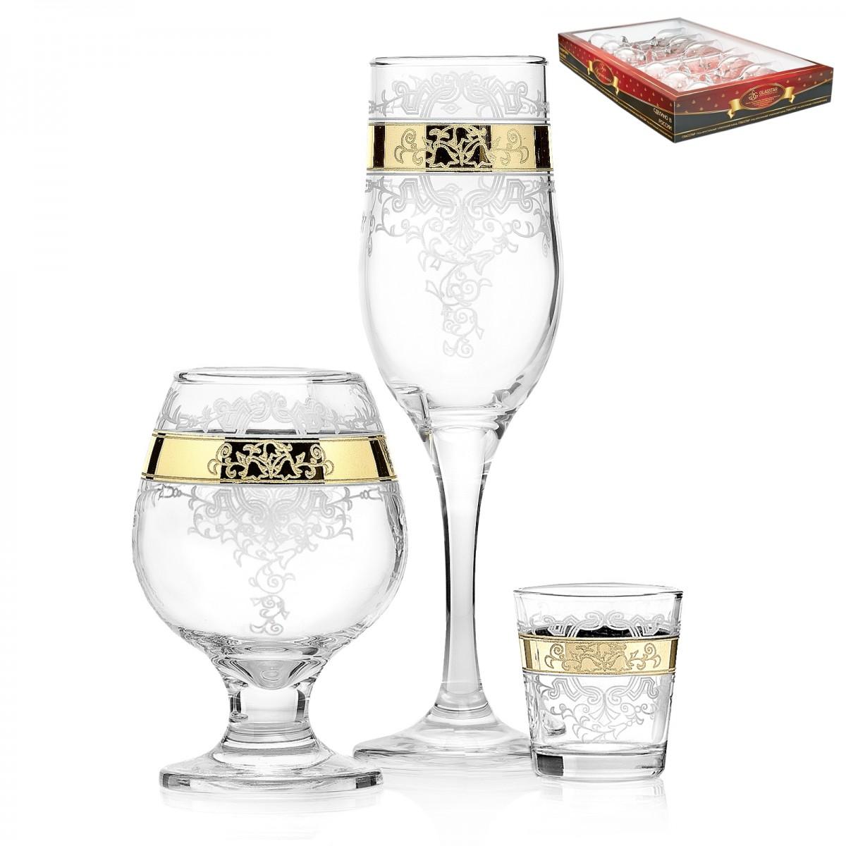 GN13_160_1740_50 Набор 18 предметов «Медальон» (6 бокалов + 6 бокалов для бренди + 6 стопок)