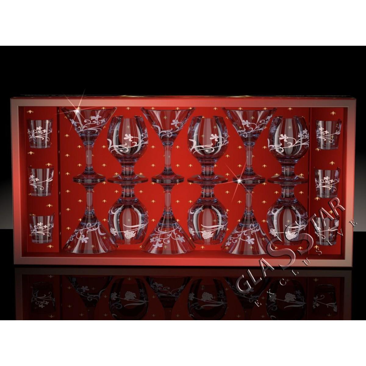 GD6_410_1740_50 Набор 18 предметов «Изящная ветвь дымка» (6 мартини + 6 бокалов-бренди + 6 стопок)