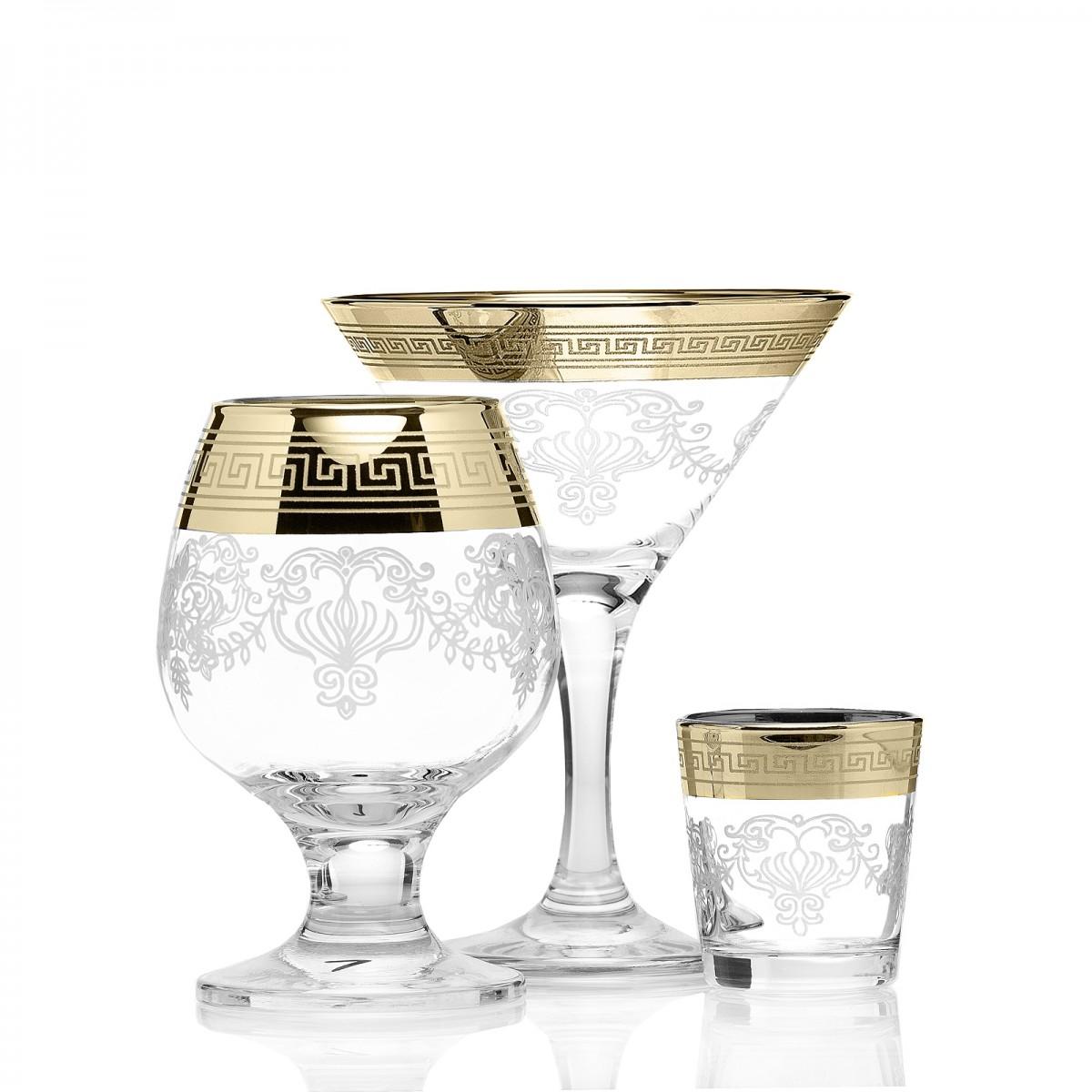 Набор 18 предметов «Барокко»  (6 бокалов мартини + 6 бокалов бренди + 6 стопок)