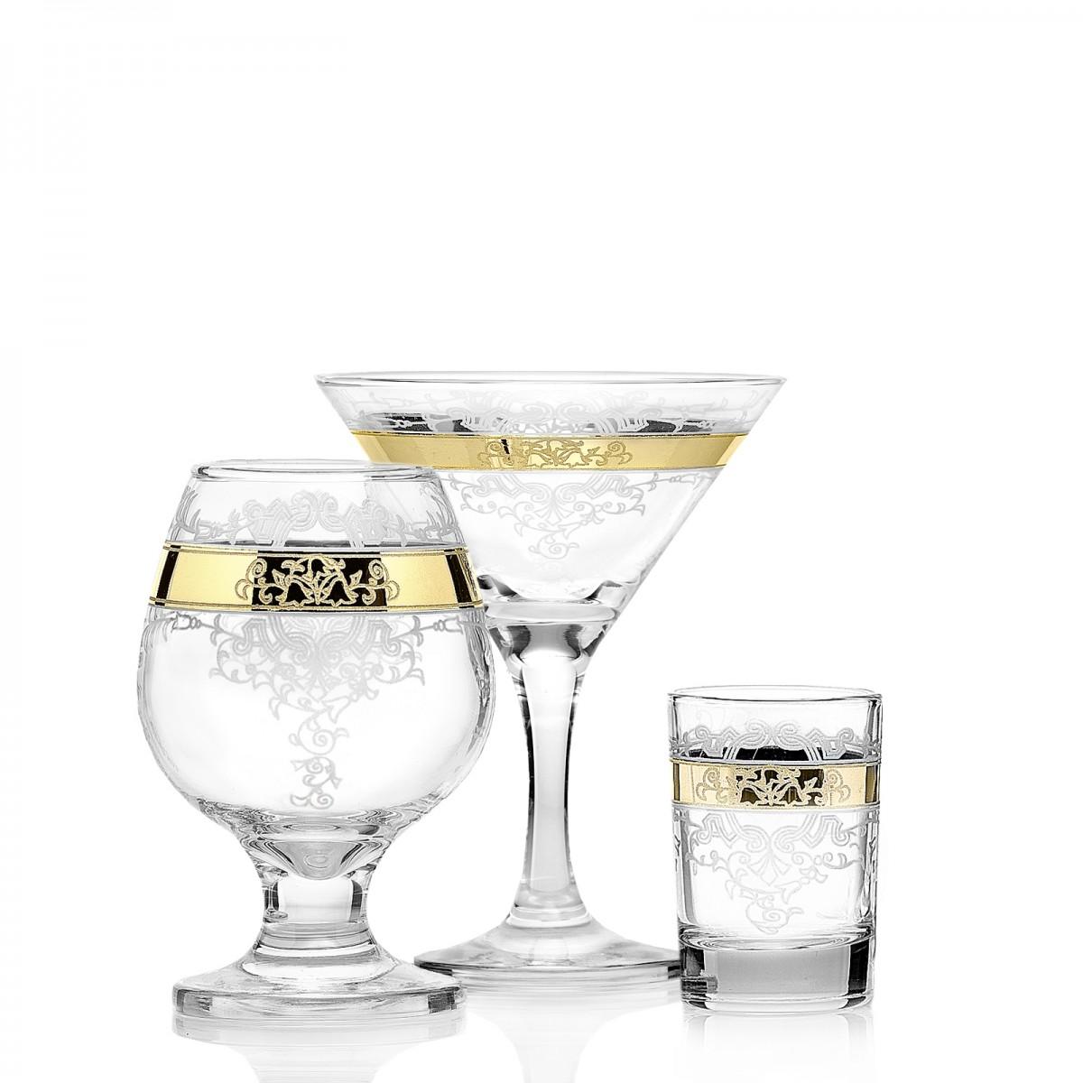 GN13_410_1740_50 Набор 18 предметов «Медальон» (6 мартини + 6 бокалов бренди + 6 стопок)