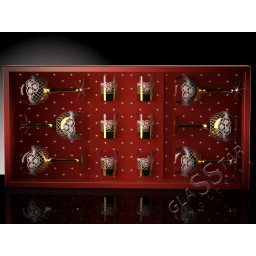 Набор 12 предметов «Золотая сетка цветы» (6 фужеров + 6 стопок)