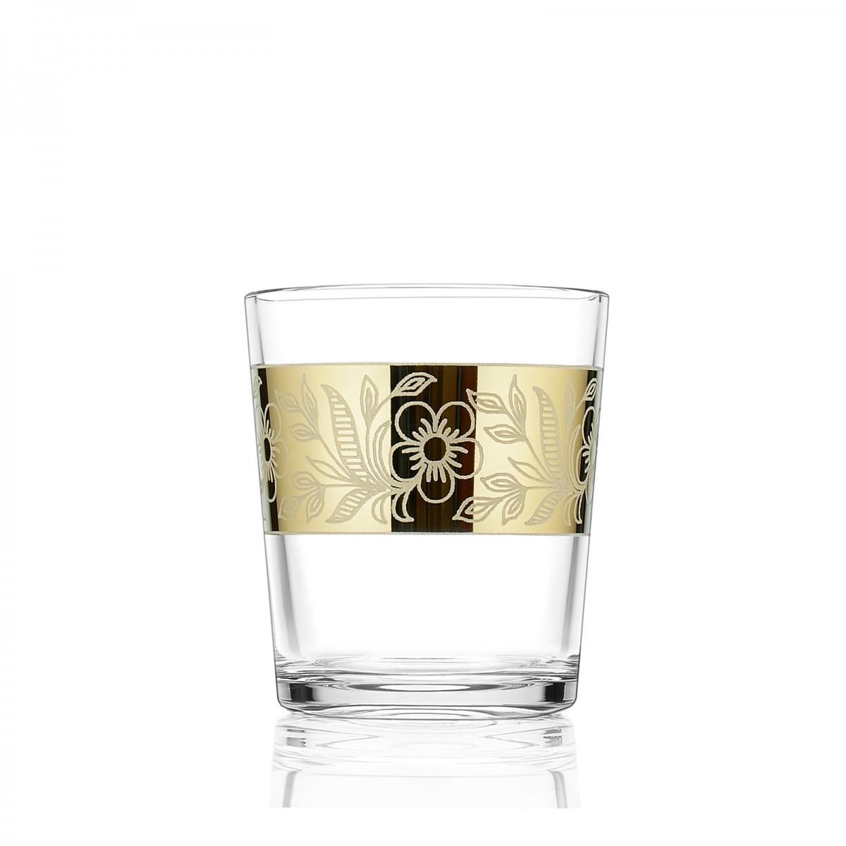 GN7_40_1 Набор из 6 стаканов «Золотая полоса цветы», 250 мл