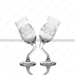 G43_160P_M Набор из 2 бокалов «Пьяные бокалы», рисунок «СССР», 200 мл