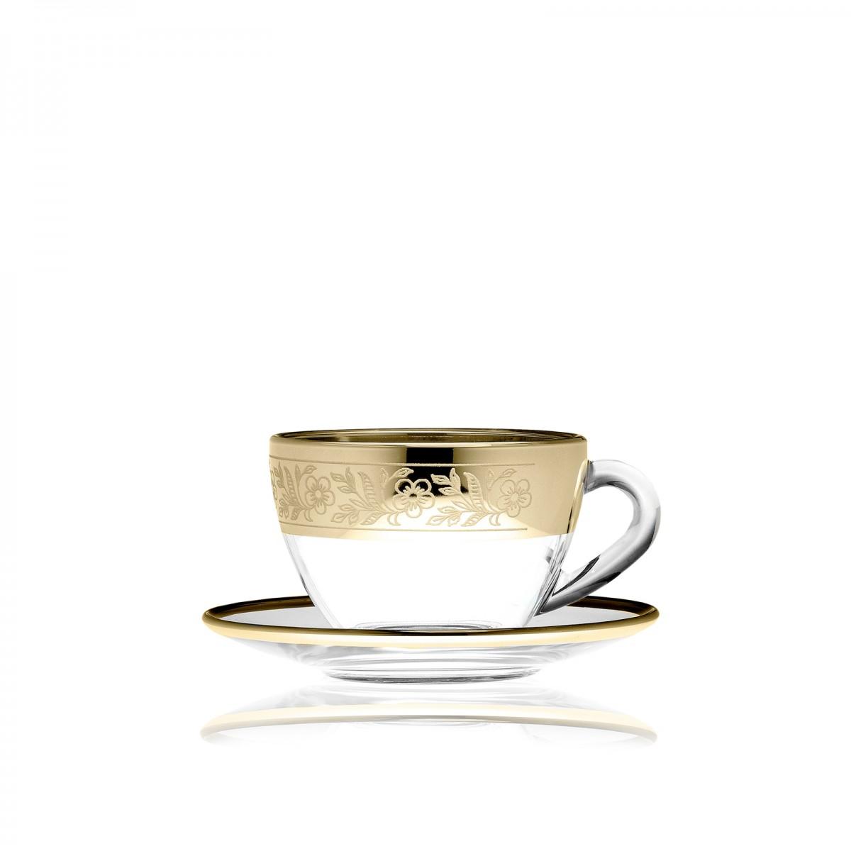 Набор чайный, рисунок «Золотая полоса цветы»
