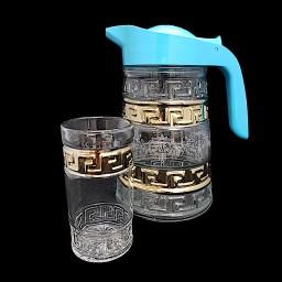 N_033_300K_9 Набор 7 предметов «Напыление» 9  (Кувшин 2 л + 6 стаканов, 300 мл)